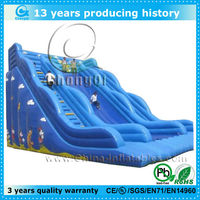 attractive blue large inflatable jumping slides