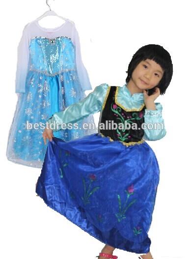 卸売安い中国2014年bestdress子供服アンナ冷凍100-140cmプリンセスドレス