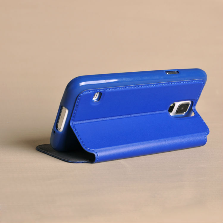 flip leather case for Samsung S5 case with view & stand