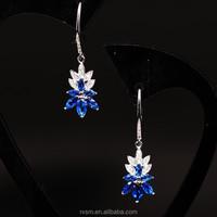 925 Sterling Silver Silver Jewelry Blue Diamond Leaf Earring Eardrop Wholesale