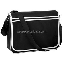 Black New Boys Study School Messenger Bag One Strap Shoulder Bag Mens College Retro Messenger Bag