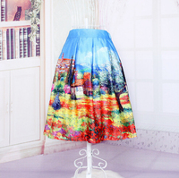 Bestdress Europe and the United States street printed skirts of tall waist female
