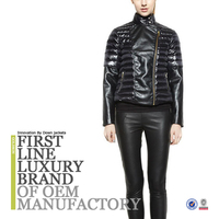 2015 Women Black Leather Down Jacket Made In China