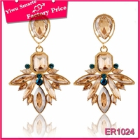 Factory price philippine fashion earrings jewelry online shopping,Elgance ladies gold plated double face earrings with stone