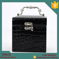 Black faux leather fashion jewelry box cases as gift cheap price