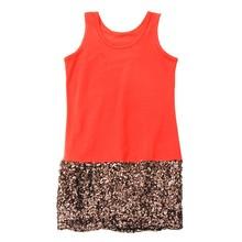 Korean Style Orange Metallic Sequins Dress