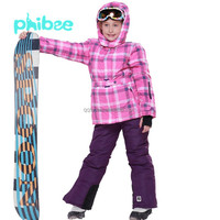 Wholesale New style Children ski suit Phibee colerful body windproof quick dry plus size girls ski suit
