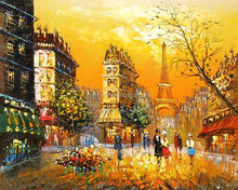 Bright color hot item paris street scene oil painting