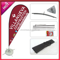 Crossing base teardrop flying banner with water bag aluminum and fiberglass pole silk screen printing UV-proof no clour fade