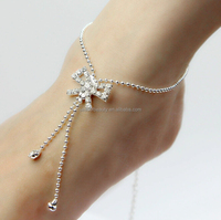 Silver barefoot sandals bow rhinestone sandal Ankle Chain