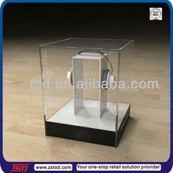 TSD-A134 custom retail store headphone clear acrylic display box/perspex display box/countertop acrylic display case