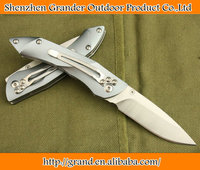 Aluminum handle folding blade knife BEE-M026GY pocket knife 8Cr13 Steel Hunting Rescue Knife 5247