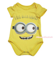 Yellow Big Eye Monster Paint One Piece Baby Girl Romper Jumpsuit Bodysuit NB-18M