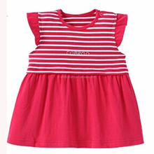 New Fashion Design of Baby Girls Red Striped Fancy Dress No Sleeve