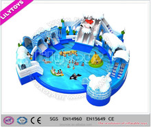 Popular inflatable Frozen water park water pool with giant slide