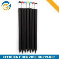 Popular Logo Printed Black Pencil With Color Eraser