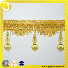 Stock Beaded Curtain Tassel Lace, Curtain Fringe,Trims for Curtain Made in Hangzhou