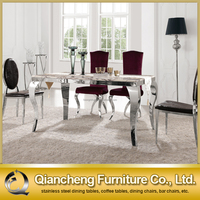 Stainless Steel Base Dining Table With Leather Chair for Dining Room