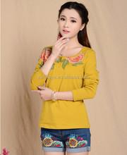 European top blusas de moda hermosa clásica belleza de la blusa nuevo estilo vestidos bordado kaftan de la mujer amarillo tops