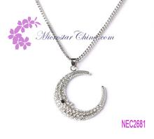 High end stock beactiful alloy rhinestone diamond moon necklace for sale