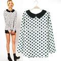 nuevo diseño de la mujer cuello peter marca europea polka dot blusas