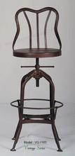 Triumph Vintage Toledo Rusted Steel Bar Chair/ Antique Toledo Gunmetal Adjustable High Bar Stool