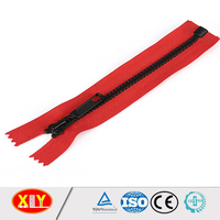 2015 hot sale open end auto lock red tape finished plastic zipper