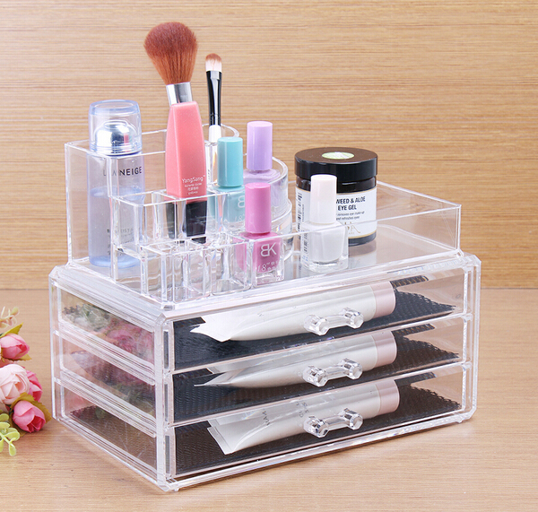 cheap price desktop acrylic display stand with draw/ps plastic cosmetic organizer box