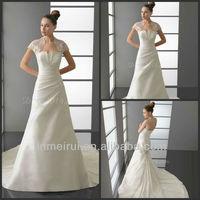 White Elegant A-line Satin Strapless Pleat Designer Dress Designs Wedding Dresses Removable Skirt DW318