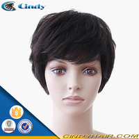 popular 100 unprocessed brazilian remy human hair bob style custom made lace front wigs with bangs