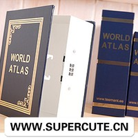 Printed custom gift world atlas book shape kids safe money box toy
