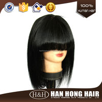 Factory Direct High Quality Grey Human Hair Short Bob Indian Hair Lace Front Wig With Bangs