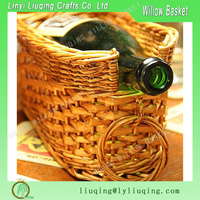 Factory wholesale gold willow/wicker wine basket with handle