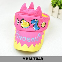 2015 multicolour pop summer carton pattern children's visor hat with embroidery for sunproof wholesale