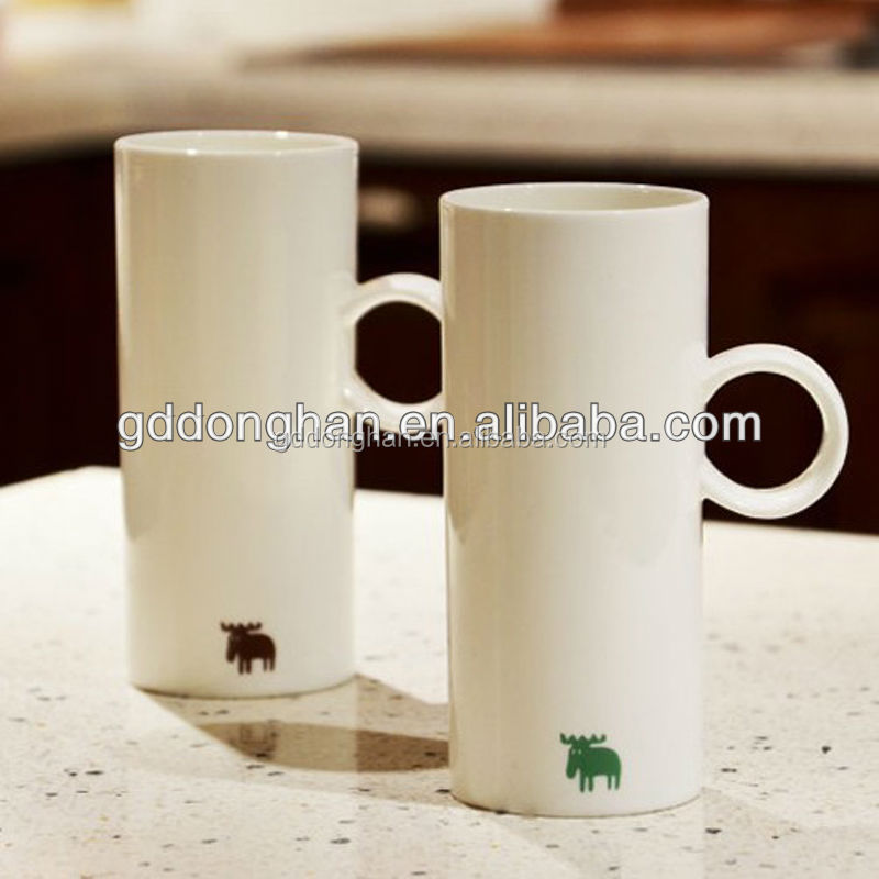 13oz Wholesale Tall White Ceramic Coffee Mug With Ring