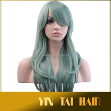 Light green Heat Resistant Bang Long body Wavy Cosplay Wig Party Hair Cosplay Wig 2015