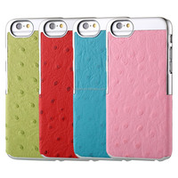 High quality Ostrich pattern genuine leather case for iphone 6 back cover for cellphones , support OEM/ODM