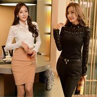 New Fashion Women Long Sleeve Ruffles Collar Slim Sexy Lace Bead office blouse designs SV018410