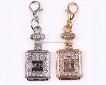 high quality rhinestone perfume bottle pendant with lobster clasp wholesale key chain pendant handbag hanging accessories