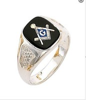 STERLING SILVER MASONIC RING CIGAR BAND STYLE