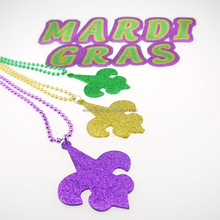 Party Beads Glittered Fleur de lis pendant necklace Mardi Gras beads
