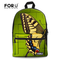 Fashion 2014 backpack school bags,or khaki butterfly canvas backpack