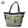 2014 standard size oem canvas tote bag with leather handle and outside pocket