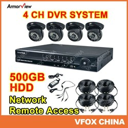 Home Video Security 4 CH Channel CCTV DVR System 24 IR LED Dome Camera Indoor Night Vision 500GB CCTV System