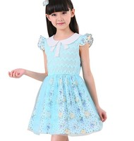 d60191h 2015 Korean children's clothing Old Children's dresses summer dresses Old children 's Cotton hollow out princess dress