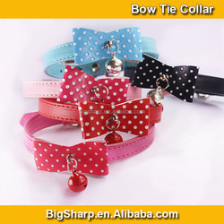 Beauty Cat Dog Bow Tie Dress Bell Necklace 4 Colors PU Collar Cute Bow Collar with Bell CS010P