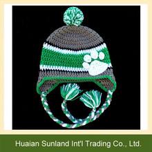 W-938 Bobcats custom knit pattern hat braided earflap basketball crochet beanie