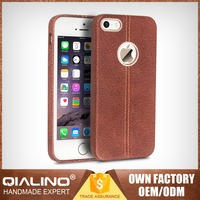 QIALINO Extra Thin High-End Handmade Waterproof Shockproof Case For Iphone 5 With Back Top Layer Leather Custom Print