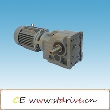 ST drive brand K187 model series high torque solid hollow shaft foot flange mounted helical bevel spiral gear speed reducer