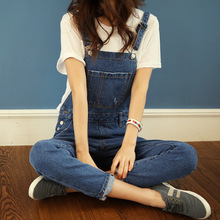 Spring models denim overalls suspenders loose piece pants Korean wave casual jeans female trousers Jeans for women lady girl